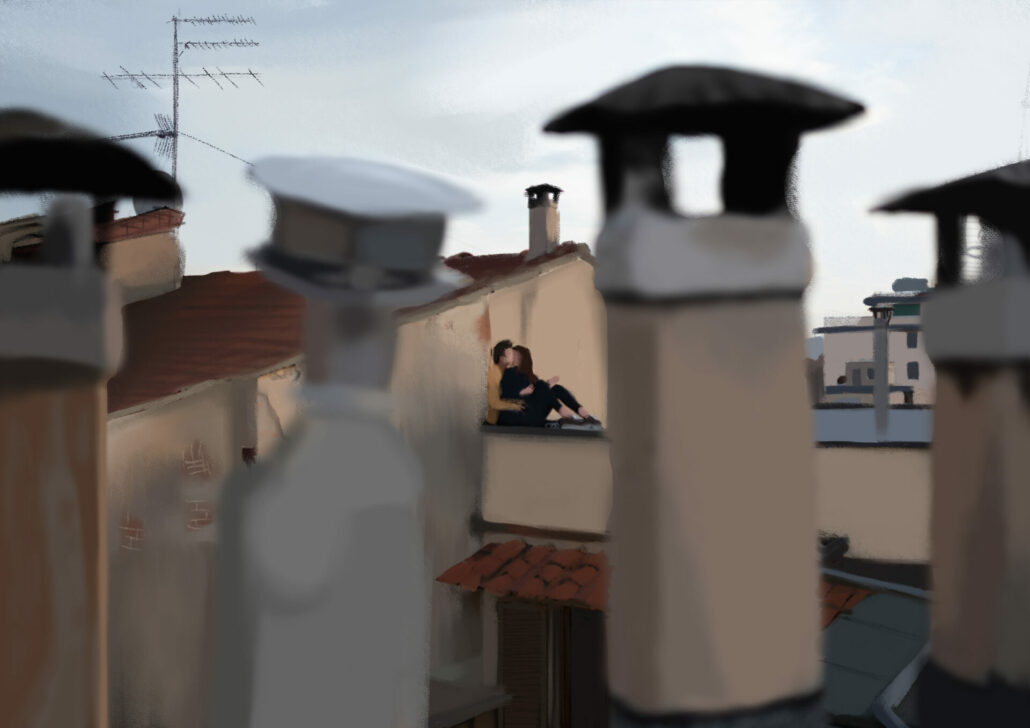Coppia su un tetto